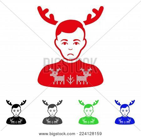 Pitiful Deers Pullover Horned Husband vector pictograph. Vector illustration style is a flat iconic deers pullover horned husband symbol with grey, black, blue, red, green color versions.