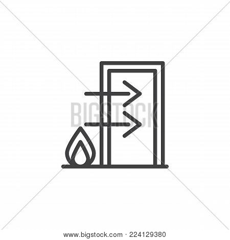 Fire exit line icon, outline vector sign, linear style pictogram isolated on white. Emergency exit symbol, logo illustration. Editable stroke