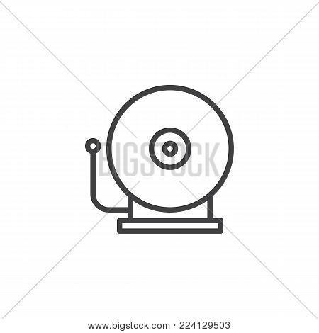 Fire alarm bell line icon, outline vector sign, linear style pictogram isolated on white. Alarm sound symbol, logo illustration. Editable stroke