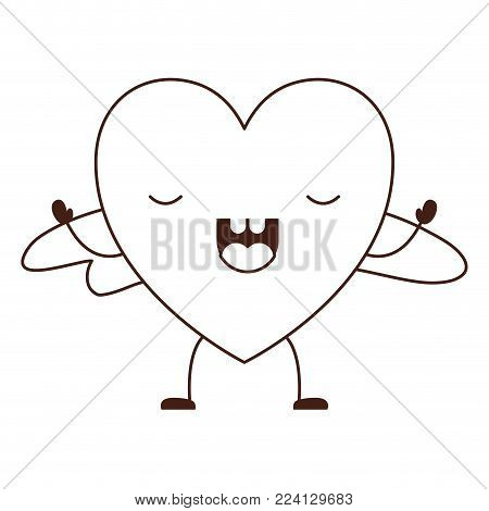 heart character kawaii with wings and frightened expression in brown contour vector illustration