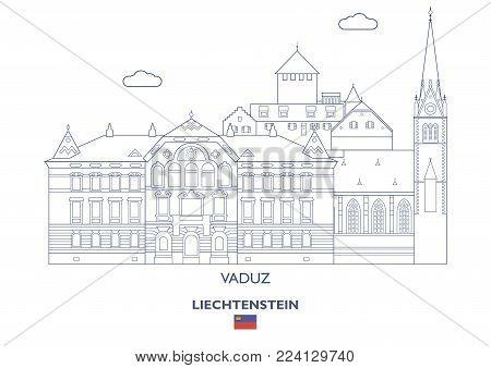 Vaduz Linear City Skyline, Liechtenstein. Famous places