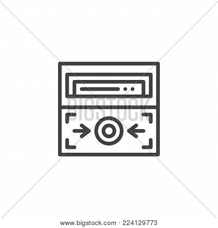 Fire alarm button line icon, outline vector sign, linear style pictogram isolated on white. Emergency system symbol, logo illustration. Editable stroke
