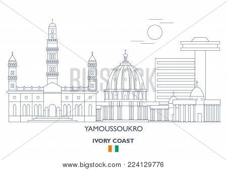 Yamoussoukro Linear City Skyline, Ivory Coast. Famous places