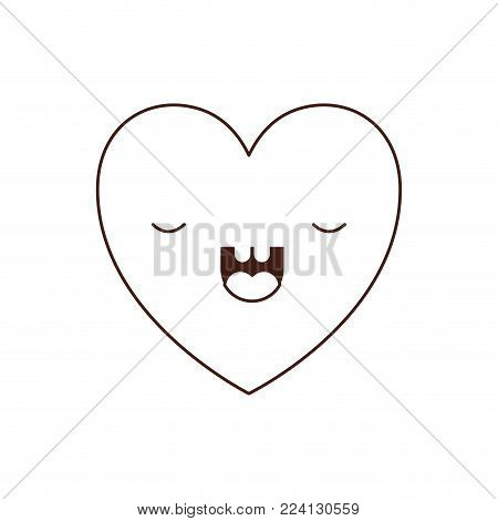 heart kawaii in frightened expression in brown contour vector illustration