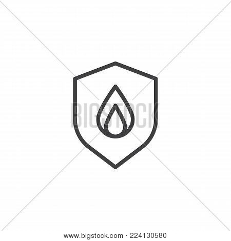 Shield secure fire line icon, outline vector sign, linear style pictogram isolated on white. Fire safety symbol, logo illustration. Editable stroke