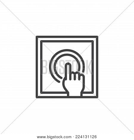 Push alarm button line icon, outline vector sign, linear style pictogram isolated on white. Symbol, logo illustration. Editable stroke