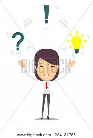 Thinking people with question signs and light idea bulb above. Young female thinking and thoughtful. Bright idea above head. Concept idea. white background. Stock flat vector illustration.