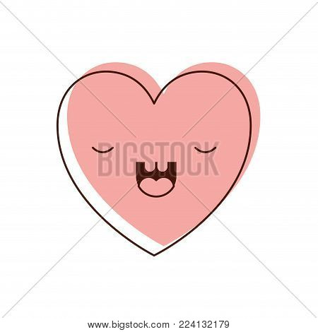 heart kawaii in frightened expression in watercolor silhouette vector illustration