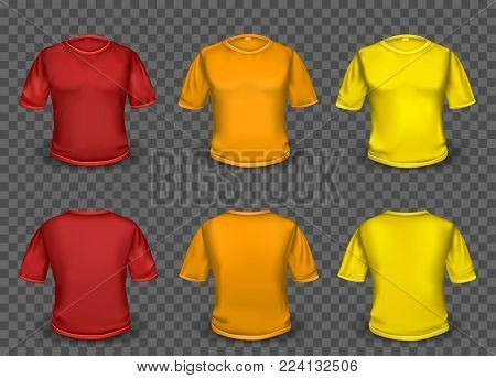 Red orange and yellow empty t-shirt template with shaow on transparent background. Human shirt clothes set collection