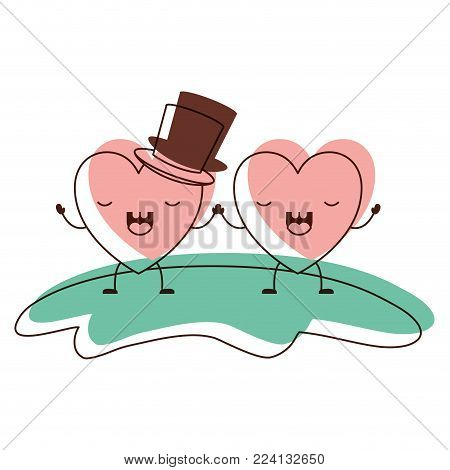 couple heart character kawaii holding hands and him with top hat in frightened expressio in watercolor silhouette vector illustration