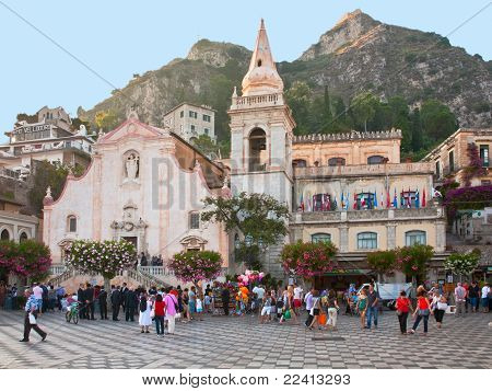Evening On Central Square In Taormina, Sicily