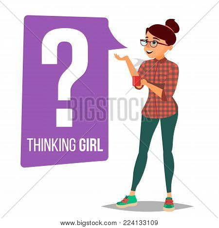 Thinking Woman Vector. Question Sign In Think Bubble. Female Think And Find Answer. Cartoon Character Illustration