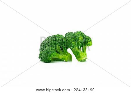 Set of green broccoli (Brassica oleracea). Vegetables natural source of betacarotene, vitamin c, vitamin k, fiber food, folate. Fresh broccoli cabbage isolated on white background with copy space.