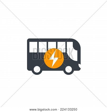 electric bus icon isolated on white, eps 10 file, easy to edit