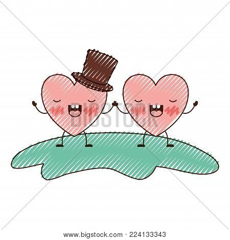 couple heart character kawaii holding hands and him with top hat in frightened expression in colored crayon silhouette vector illustration