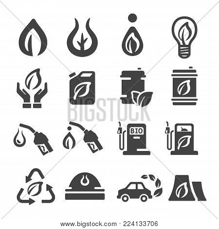 bio fuel icon set energy icon vector illustration