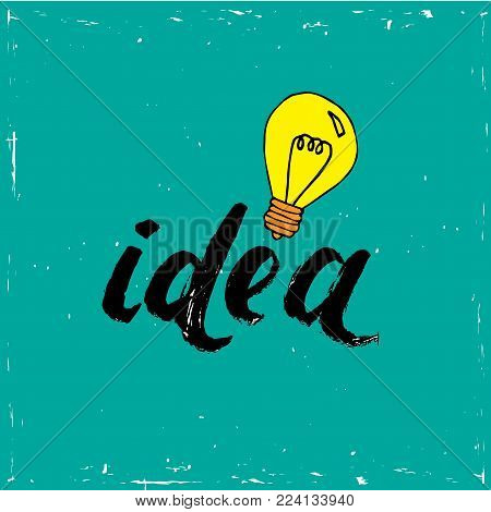 Flat design vector business illustration concept creative idea with light bulb on blue background.
