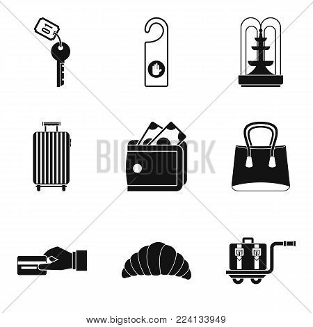 Rented apartment icons set. Simple set of 9 rented apartment vector icons for web isolated on white background