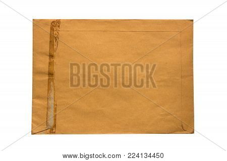 Old brown envelope  isolate on white background