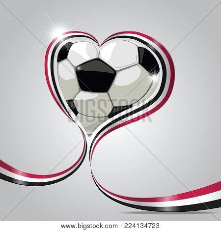 Yemen flag in ribbon. ball for football in the shape of heart. vector illustrator.