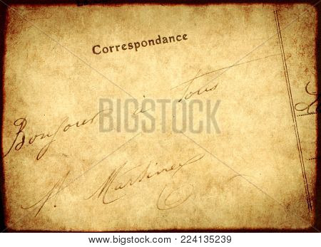 Grunge vintage background with old paper texture and inscription