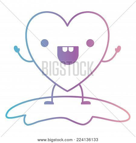 heart character kawaii cheerful expression in degraded blue to purple color contour vector illustration