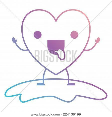 heart character kawaii funny expression in degraded blue to purple color contour vector illustration