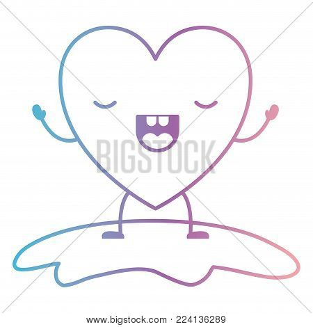 heart character kawaii frightened expression in degraded blue to purple color contour vector illustration