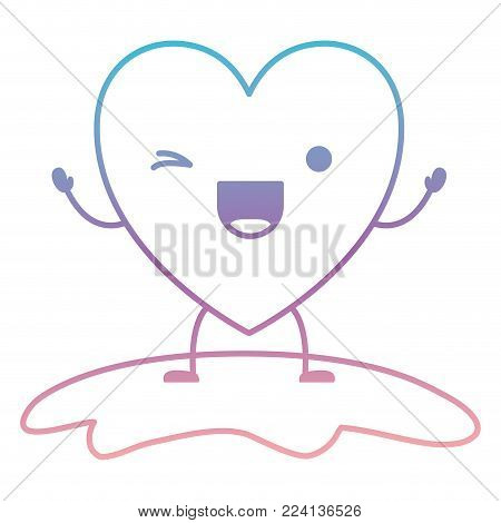 heart character kawaii wink expression in degraded blue to purple color contour vector illustration