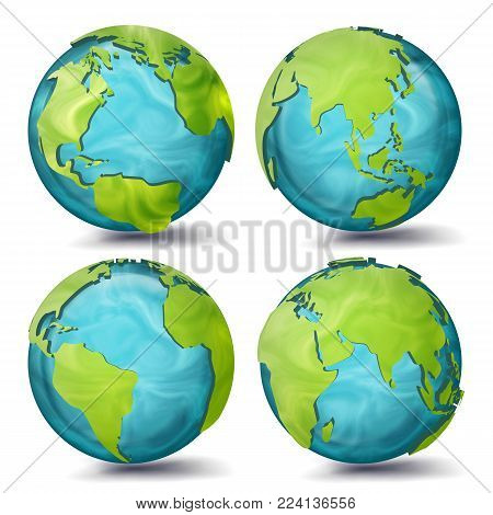 World Map Vector. 3d Planet Set. Earth With Continents. Eurasia, Australia, Oceania, North America, South America, Africa, Europe Sphere Flip Different Angles Illustration poster