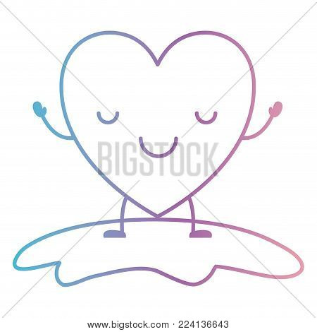 heart character kawaii calm expression in degraded blue to purple color contour vector illustration
