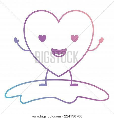 heart character kawaii in enamored expression in degraded blue to purple color contour vector illustration