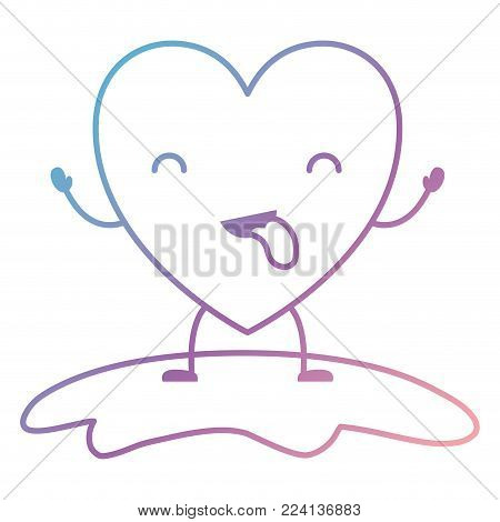 heart character kawaii in funny expression with closed eyes in degraded blue to purple color contour vector illustration