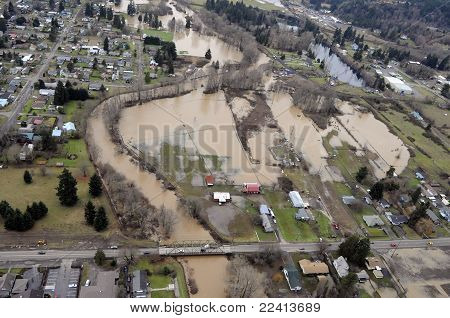 The rivers of the Columbia Basin overflow into the towns and farm valleys of the Cascade Mountains and Interstate 5 area of Washington State. poster