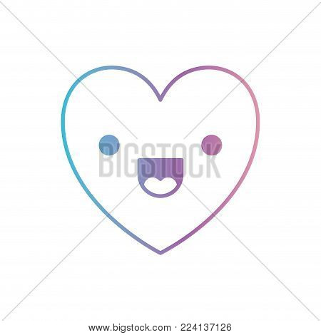 heart kawaii in jolly expression in degraded blue to purple color contour vector illustration
