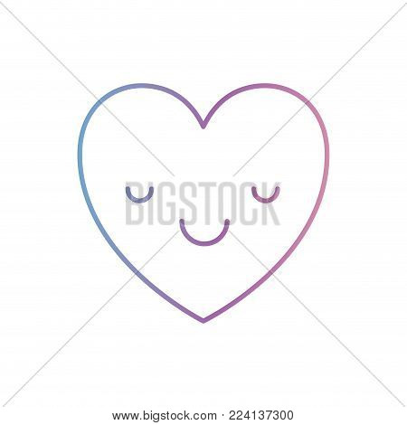 heart kawaii in calm expression in degraded blue to purple color contour vector illustration