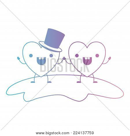couple heart character kawaii holding hands and him with top hat in cheerful expression in degraded blue to purple color contour vector illustration
