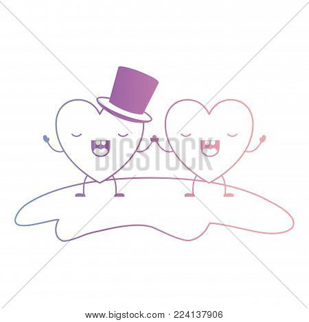 couple heart character kawaii holding hands and him with top hat in frightened expression in degraded blue to purple color contour vector illustration