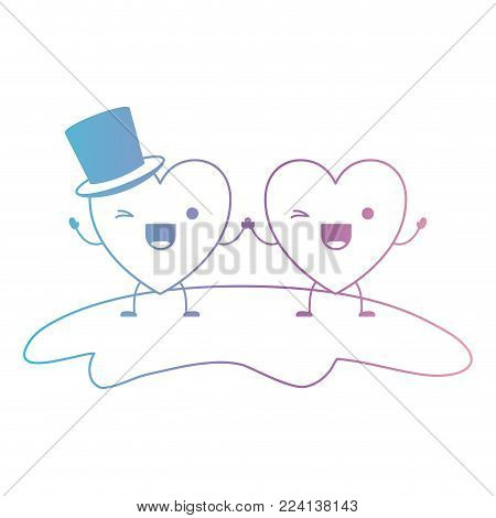 couple heart character kawaii holding hands and him with top hat in wink expression in degraded blue to purple color contour vector illustration