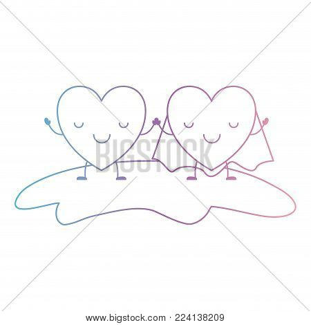 couple heart character kawaii holding hands and him with coat in calm expression in degraded blue to purple color contour vector illustration