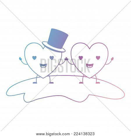 couple heart character kawaii holding hands and him with top hat in enamored expression in degraded blue to purple color contour vector illustration