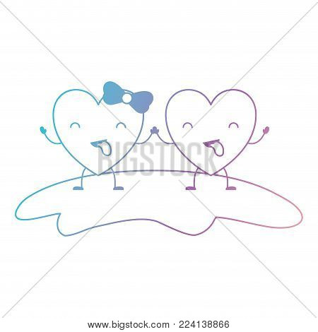 couple heart character kawaii holding hands and closed eyes and her with topknot in funny expression in degraded blue to purple color contour vector illustration
