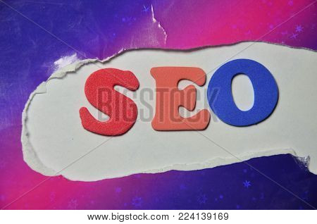 word seo on an   abstract colorewd background