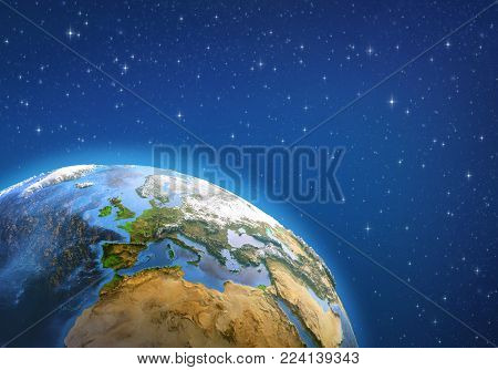 Planet Earth in deep space, focused on Western Europe. 3D illustration - Elements of this image furnished by NASA.