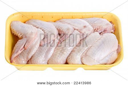raw chicken wings  in a package isolated