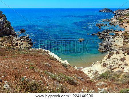 Paradise sea beach Cala Paradiso near Rocca di San Nicola, Agrigento, Sicily, Italy