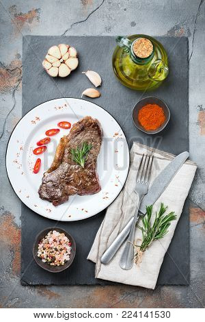Grilled Beef Steak With Spices Ready For Dinner