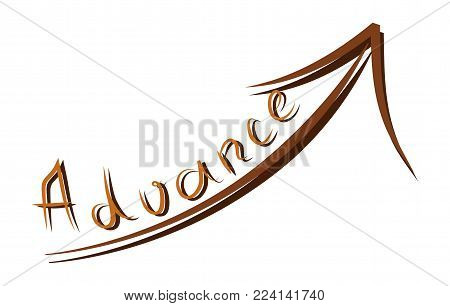 Word advance and arrow up. Vector illustration