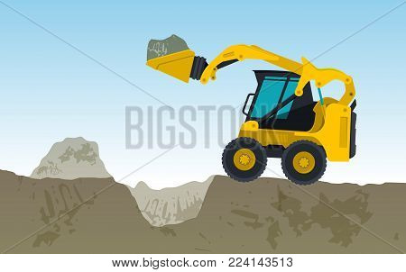 Yellow excavator is digging hole. Bagger is excavating, ground works. Construction machinery in action. Construction machine works on foundation. Flatten banner, illustration master vector.