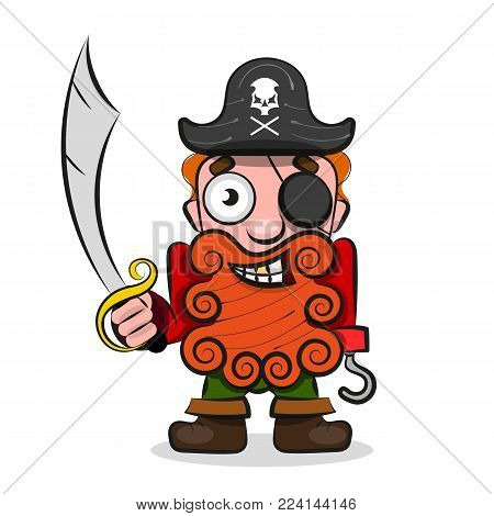 International Talk Like A Pirate Day. Pirate Hook . Eye patch and smoking pipe.Vector illustration